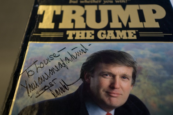 MIAMI BEACH, FLORIDA - NOVEMBER 20, 2015: Donald Trump dedicated Trump the Game set to Louise Sunshine, a powerful real estate developer who worked for Donald Trump for 15 years starting in the 70's and rose to Senior Vice President in Trump Enterprises. Sunshine keeps several mementos of her time with Trump in her house. (Photo by Angel Valentin/For The Washington Post)